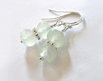 Serpentine New Jade Sterling Silver Earrings, Soo Chow Jade, Celadon Green, Ear Wire Options