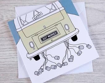 Just married - wedding blank card with classic campervan