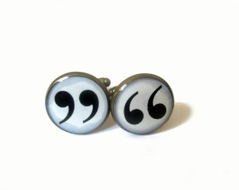 QUOTATION MARK CUFFLINKS - Punctuation - Quotation Marks  - Gift For Writer - Reader cufflinks - Book Lovers  - Punctuation Commas
