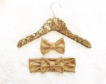 Big Bow Messy bow headband Gold metallic and/ or gold bow Sister set