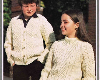 Child's Boy's Girl's Sweater Jumper Pullover Cardigan  Hayfield DK Aran 1689 size 51 to 76 cm 20 to 30 inch Vintage Retro Knitting Pattern
