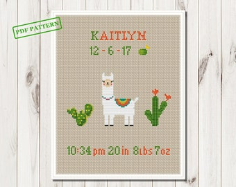 Llama Baby Announcement cross stitch pdf pattern  birth sampler Animals xstitch  Girl Boy Cross Stitch Gift personalized  baby girl diy gift