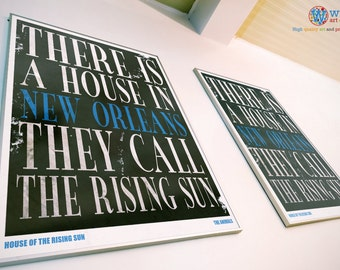 House of the Rising Sun - The Animals - print / art / poster - Song / Lyric Typography