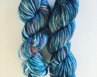 16ply super bulky hand dyed yarn in Fruit Tingle  colorway / variegated yarn / merino wool yarn / chunky yarn / knitting / crochet / Blue