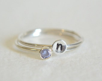 Set of Two Sterling Silver Rings, Personalized Ring, Stacking Ring, Initial Ring, Dainty Ring, Stackable Ring, Light Amythest Ring, Lavender