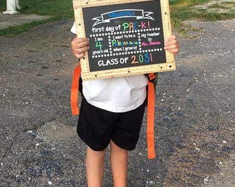 First Day of School Chalkboard sign, Photo Prop, Back to school, Child Chalkboard, 1st day sign, Rulers