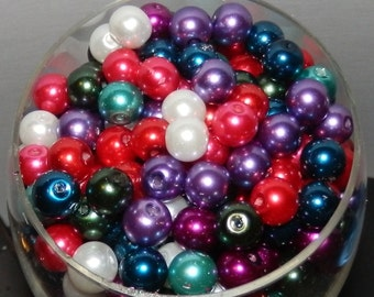 300- 8mm Glass Pearl Beads-primary colors