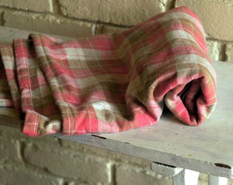 Pink Plaid Flannel Baby Blanket - Receiving Blanket - Nursing Blanket - Pink Crib Blanket - Baby Girl Shower Gift under 25