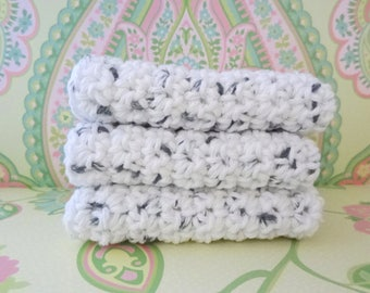 Crochet White with Black Specks Wash Cloths/Face Cloths/Bath Cloths/Kitchen Cloths/Dish Cloths - 100% Cotton - Set of 3 - Made to Order