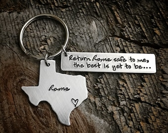 Long Distance Relationship Gift Long Distance Boyfriend Long distance Husband Wife gift State Keychain Home Keychain USA Keychain Going away