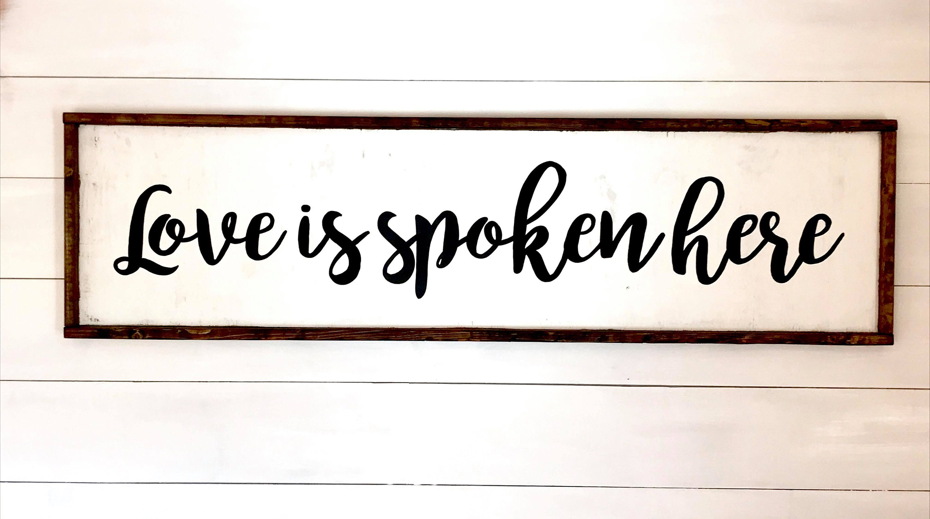 Love is Spoken Here Custom Wood Signs Home Decor Dining