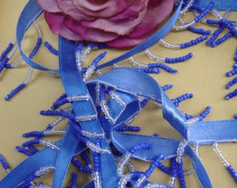 """10 yards 1 1/4"""" long ( with 3/8"""" blue satin ribbon )  two tones clear and blue beaded fringe trim with blue satin ribbon ST"""