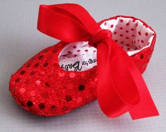 Wizard of Oz Ruby Slippers Ruby // red baby shoes girls red shoes little red riding hood red sequin baby shoes  Dorothy shoes - Joy