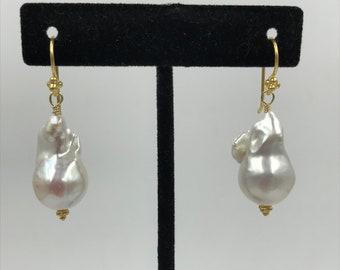 24 mm Luminous Baroque Pearl Earrings
