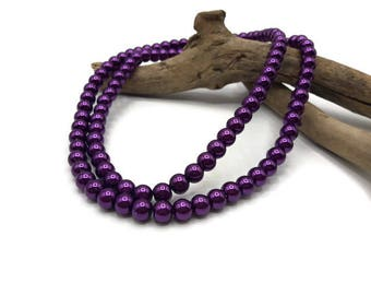 100 glass beads 8 mm - A162 violet
