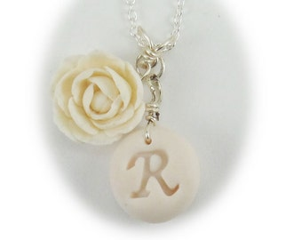 Personalized Peony Initial Necklace - Peony Letter Jewelry Silver Gold or Antique Brass