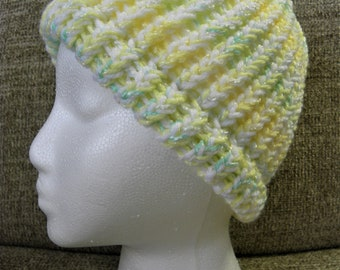 Yellow, White, and Green Child's Knit Hat
