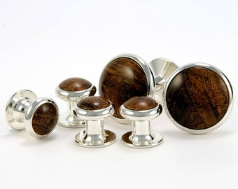 Silver Cufflinks Tuxedo Stud Set Mesquite Burl Wooden Cufflinks Tuxedo Shirt Studs Gift For Him Gift For Groom Gift For Dad Mens Jewelry