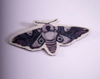 Purple Insect Night Moth Brooch / Illustrated pin / Fabric brooch / Butterfly pin / Butterfly brooch / purple moth / purple butterfly