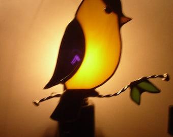 Chickadee Night light - Chickadee Nightlight on Branch - Stained Glass Night light