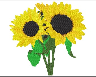 Sunflower Embroidery Design 2 sizes included