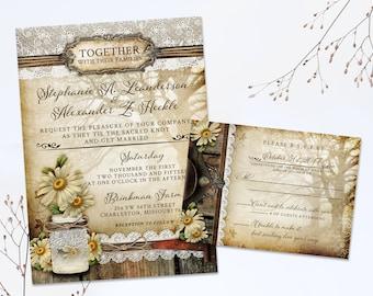 Rustic Mason Jar Wedding Invitation Daisy Wedding Invites Suite Printable Wedding Stationery Mason Jar wedding invites, lace, flowers, trees