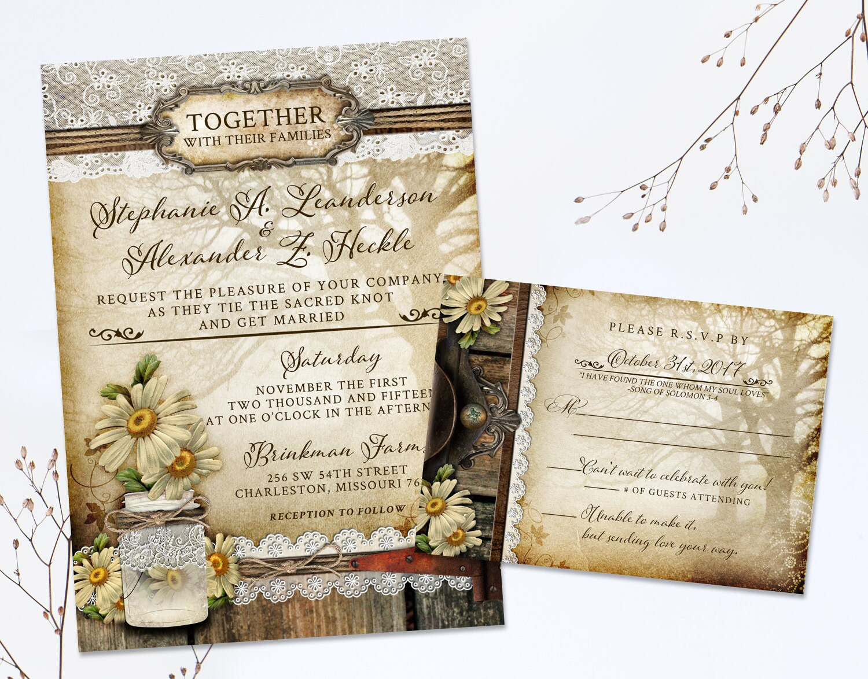 Cottage Mason Jar Wedding Invitation: Rustic Mason Jar Wedding Invitation Daisy Wedding Invites