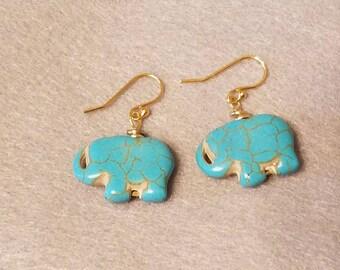 Elephant earrings, animal earrings, women's gift, teachers gift, cute earrings, natural jewelry