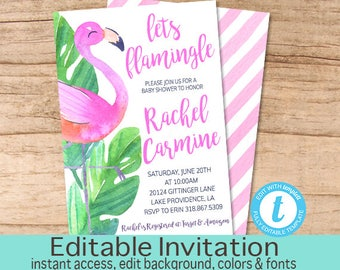 Baby Shower Invitation, Let's Flamingle, Flamingo Floral Baby Shower invite, Watercolor Tropical Invitation, Editable, Instant Download