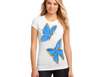 T-shirt painted for women- Butterflies - gift, hand painted