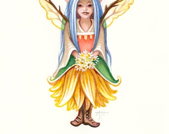 Lady Amelioration print, Seasonal Distemper, fairy art, sunflower fairy, faerie, fantasy art, magical creatures