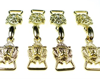 Tiny decorative lion buckles 4pcs
