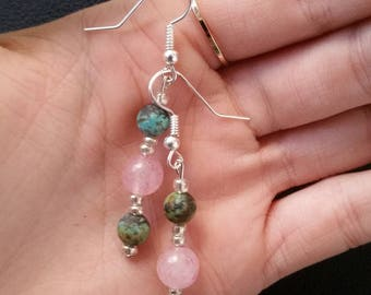 Rose Quartz and Turquoise beaded Silver earrings