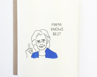 HILLARY CLINTON Birthday Card, Hillary 2016 Election, Donald Trump Birthday Clinton Democrat Card, President Card, Card for Girlfriend