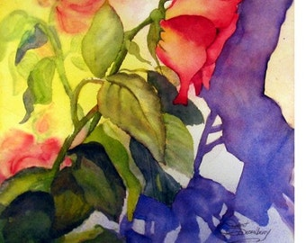 Rose, Nature, Flower, Purple Shadows,Colorful, Contempary Colors, Garden, Vintage Looking, Watercolor Fine Art Print by Janet Dosenberry