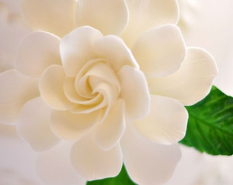 Made-to-Order Large Gardenia Cake Flower with Leaves (you pick the color)