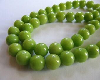 8mm Mashan JADE Beads in Bright Apple Green, Round, Smooth, 53 Pcs, Full Strand, Dyed, Candy Jade, Mountain Jade, Dolomite Marble, Gemstones