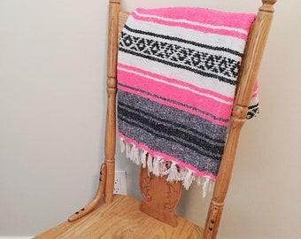 Authentic Mexican Serape Zerape   Neon Pink l Falsa Blanket   Mexican Blanket   Hippie Blanket   southwestern blanket   bohemian textiles