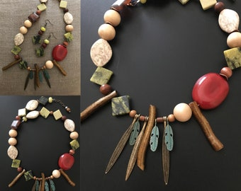 Asymmetrical Necklace Tagua Nut Necklace Wood Necklace Bib Necklace Coral Necklace Feather Necklace Jade Necklace Gypsy Necklace Boho Style