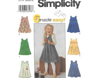 Girls Sleeveless Jumper Dress 3 to 8 Sewing Pattern Simplicity 8812