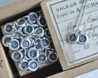initial charm necklace - tiny personalized letter wax seal necklace - fine silver wax seal jewelry - gift for her