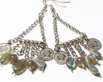 Boho Labradorite and coins