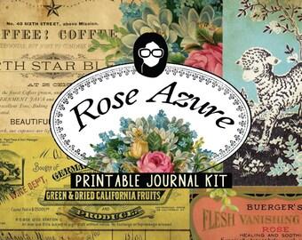 Vintage Junk Journal - Rose Azure - 20 Journal Refill Pages, journaling kit, junk journal, journal kit, writing journal, junk journal kit