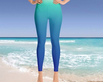 Aqua Leggings pastel blue Caribbean Yoga ombre gradient colorful womens girls workout festival dancing pants Two tone colored mint green