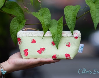 Strawberry Pencil Case, Green Pencil Case, Strawberry Zipper Pouch, Green Cosmetic Pouch, Strawberries Lover Gift Idea