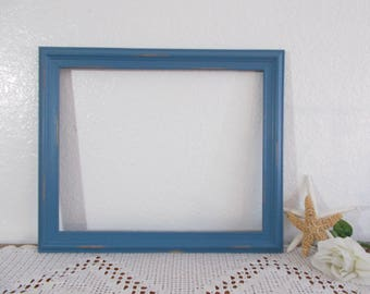 Large Blue Picture Frame Upcycled Vintage Wood 12x15 Photo Decoration Rustic Shabby Chic Distressed Beach Cottage Coastal Seaside Home Decor