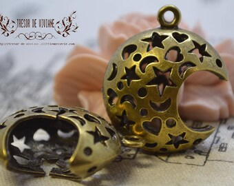 set of 2 Moon QKA036 pendant, bronze