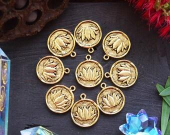 Antique Gold Lotus Charm, 20x24mm, 1pcs / Nunn Designs, Lotus Pendants, Meditation Charms, Intentional Jewelry, Jewelry Making Supplies