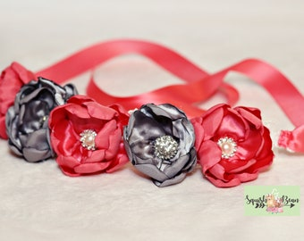 Coral and Gray Pet Flower Necklace or Crown