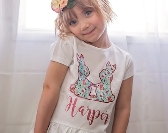 Easter Shirt - Easter Bunny Shirt - Easter Shirt for Girl - Easter Outfit - Easter Bunny Outfit - Floral Bunny Shirt - Easter Photo Props